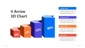 4 Arrows 3D Chart Infographic Template