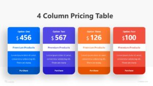 4 Coloumns Pricing Table Infographic Template