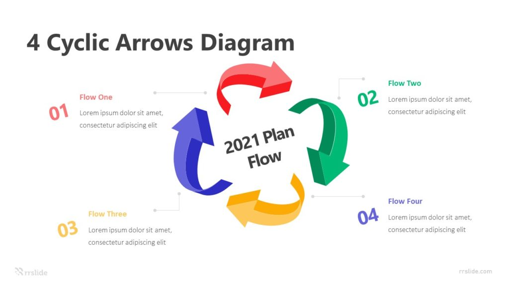 4 Cyclic Arrows Diagram Infographic Template