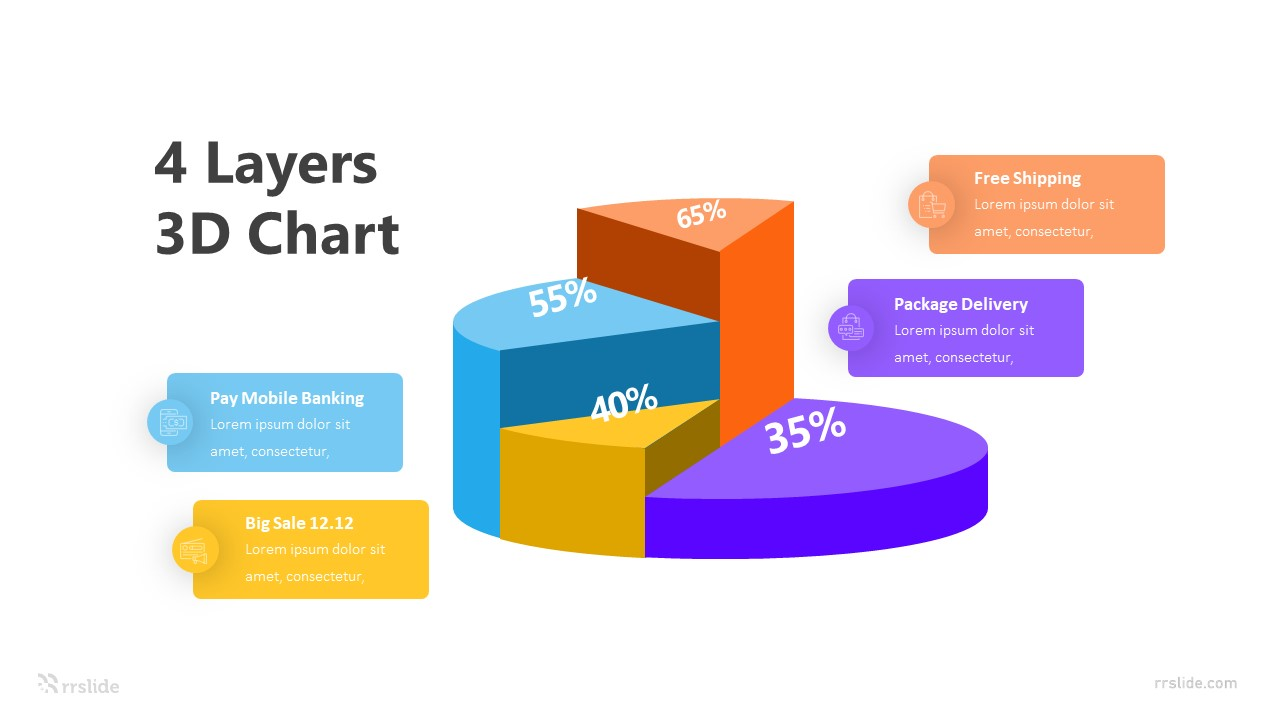 4 Layers 3D Chart Infographic Template