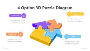 4 Option 3D Puzzle Diagram Infographic Template