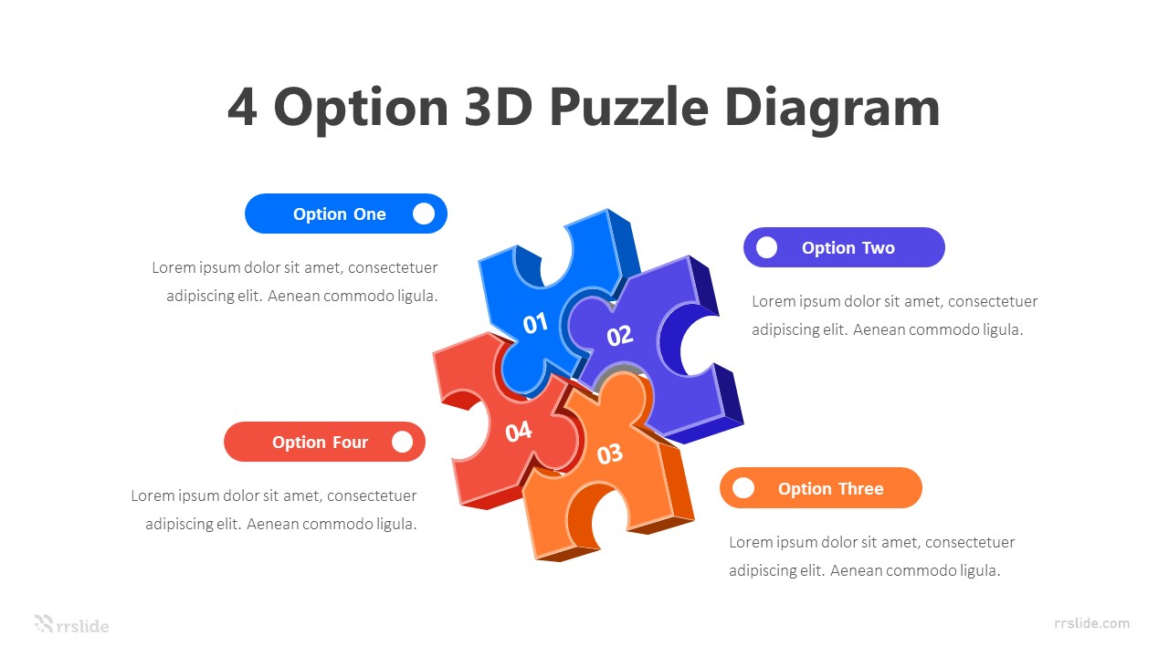 4 Option 3D Puzzle Diagram 2 Infographic Template