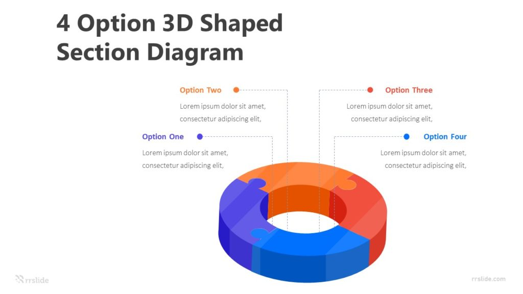 4 Option 3D Shaped Section Diagram Infographic Template