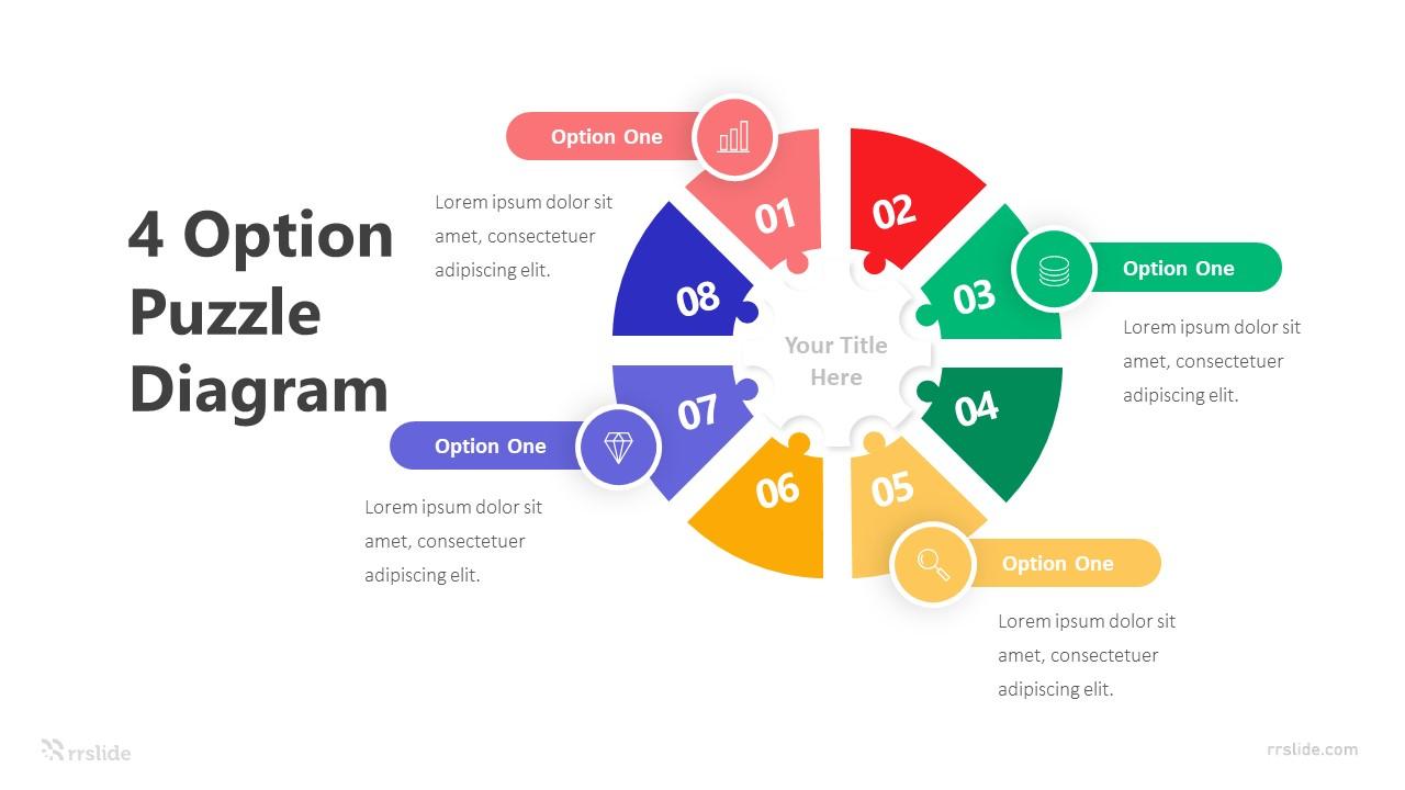 4 Option Puzzle Diagram Infografic Template
