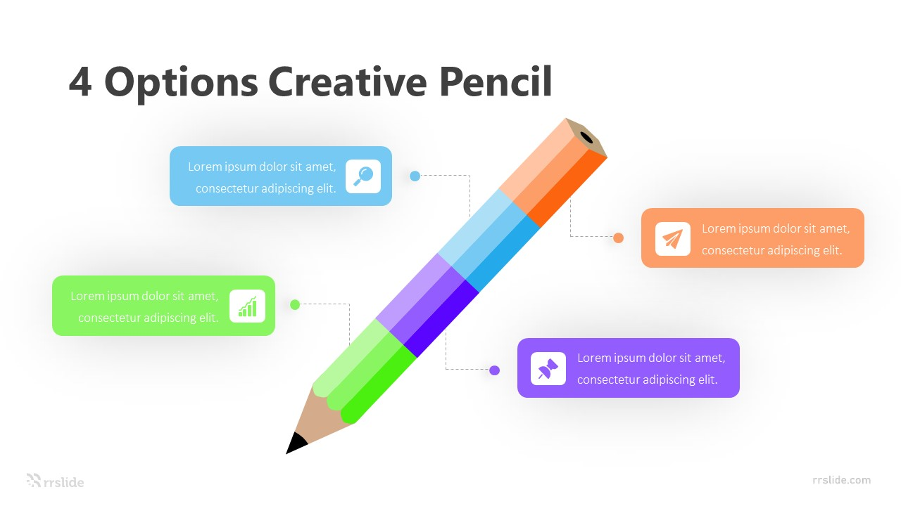 4 Options with Creative Pencil Infographic Template