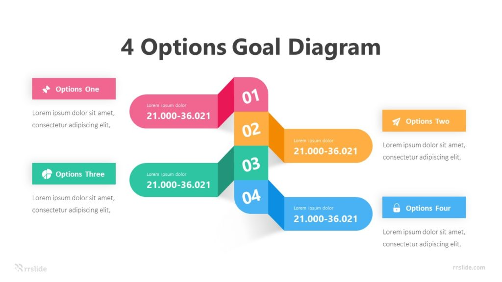 4 Options Goal Diagram Infographic Template