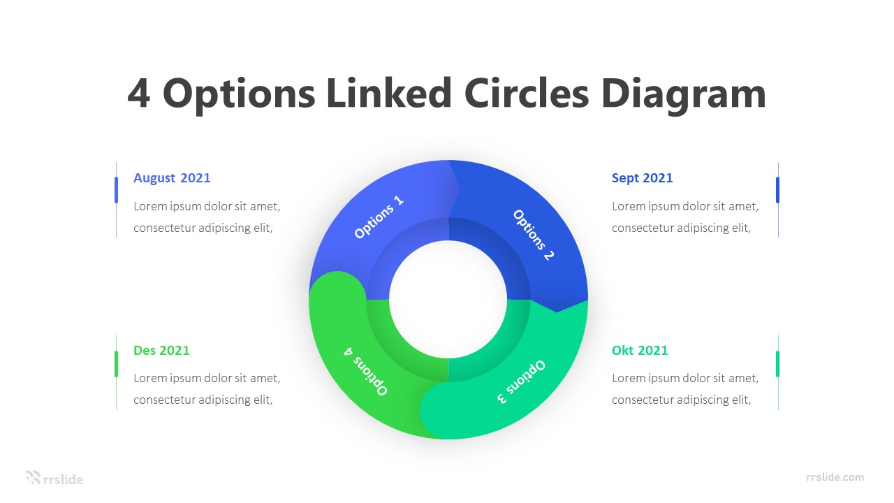 4 Options Linked Circles Diagram Infographic Template