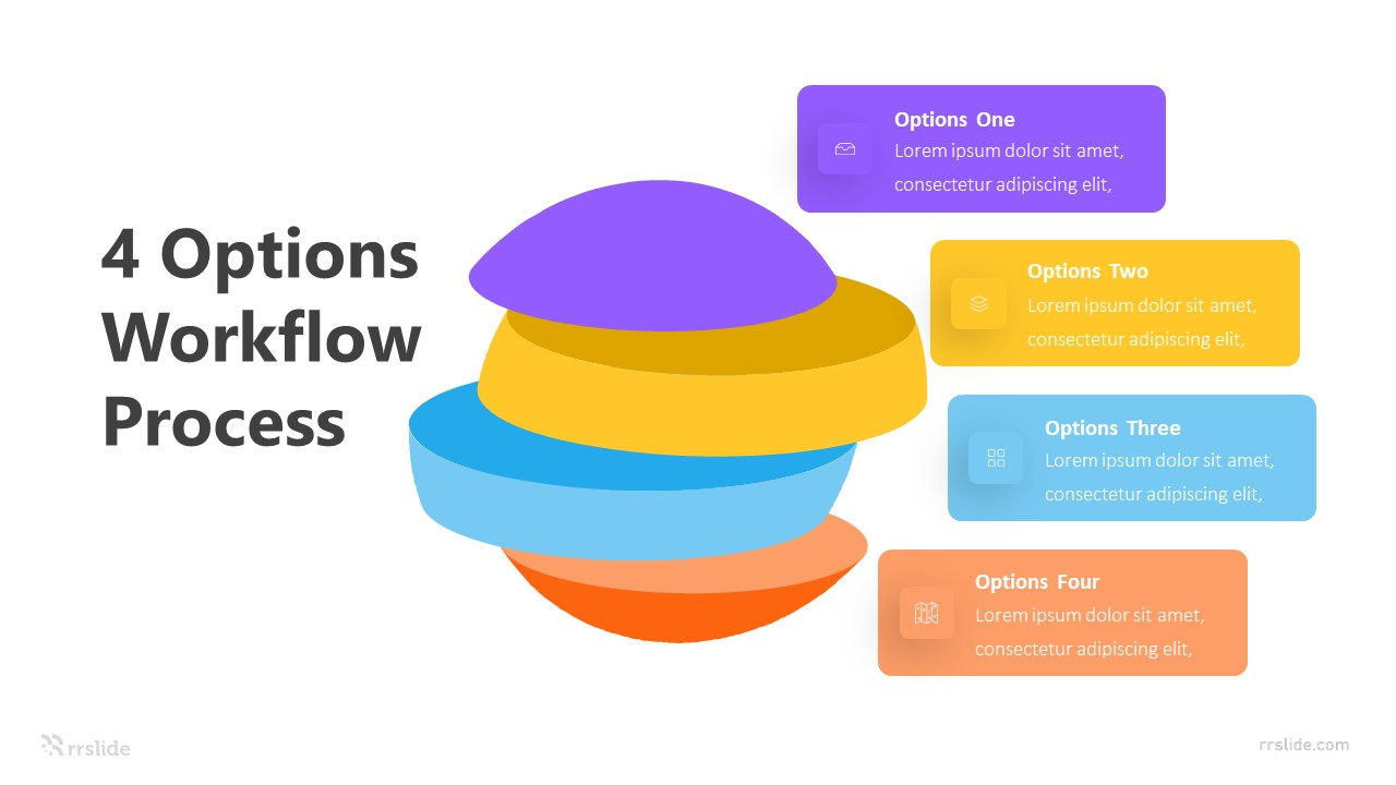 4 Options Workflow Process Infographic Template