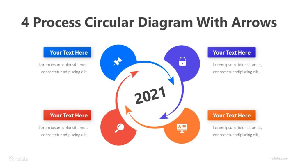 4 Process Circular Diagram with Arrows Infographic Template