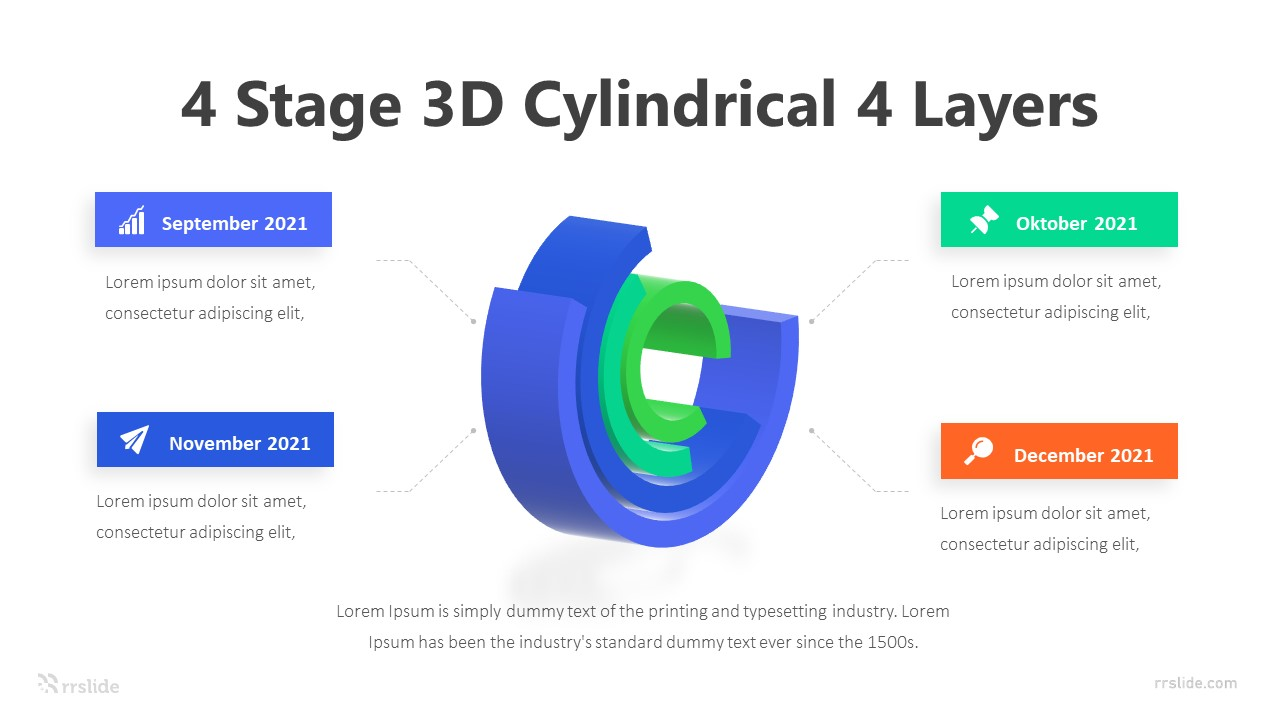 4 Stage 3D Cylindrical 4 Layers Infographic Template