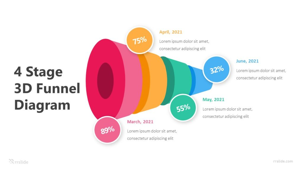 4 Stage 3D Funnel Diagram Infographic Template