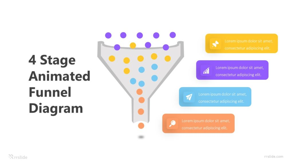 4 Stage Animated Funnel Diagram Infographic Template