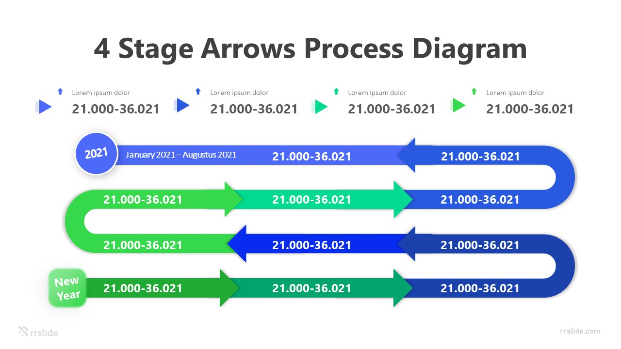 4 Stage Arrows Process Diagram Infographic Template