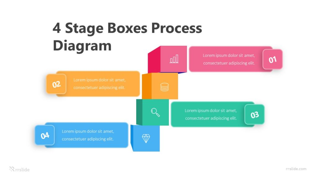 4 Stage Boxes Process Diagram Infographic Template