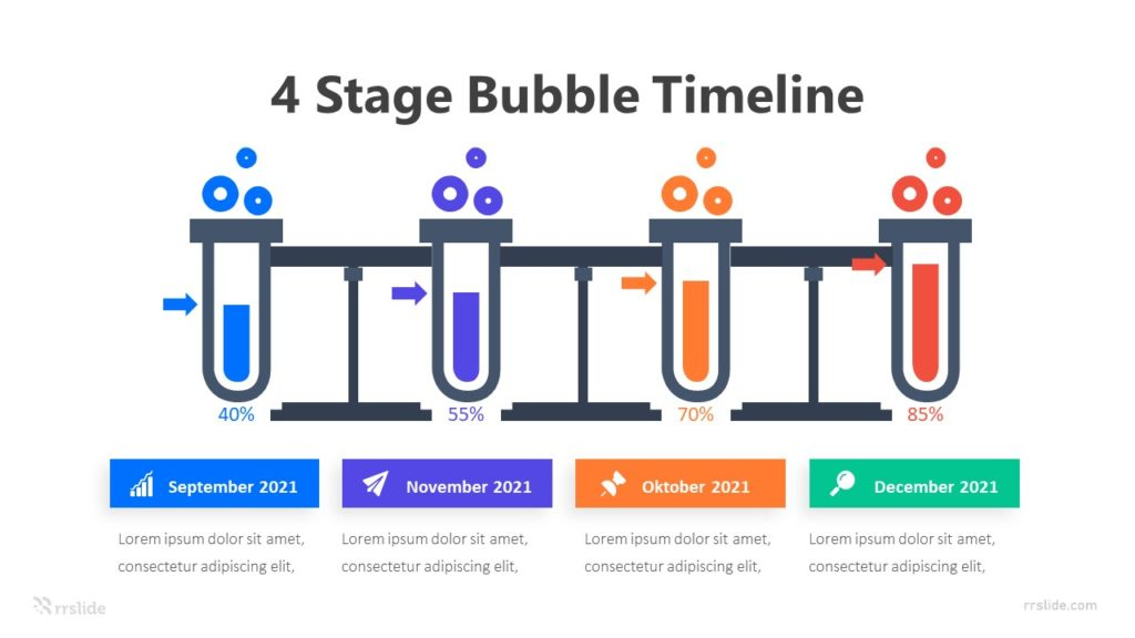 4 Stage Bubble Timeline Infographic Template