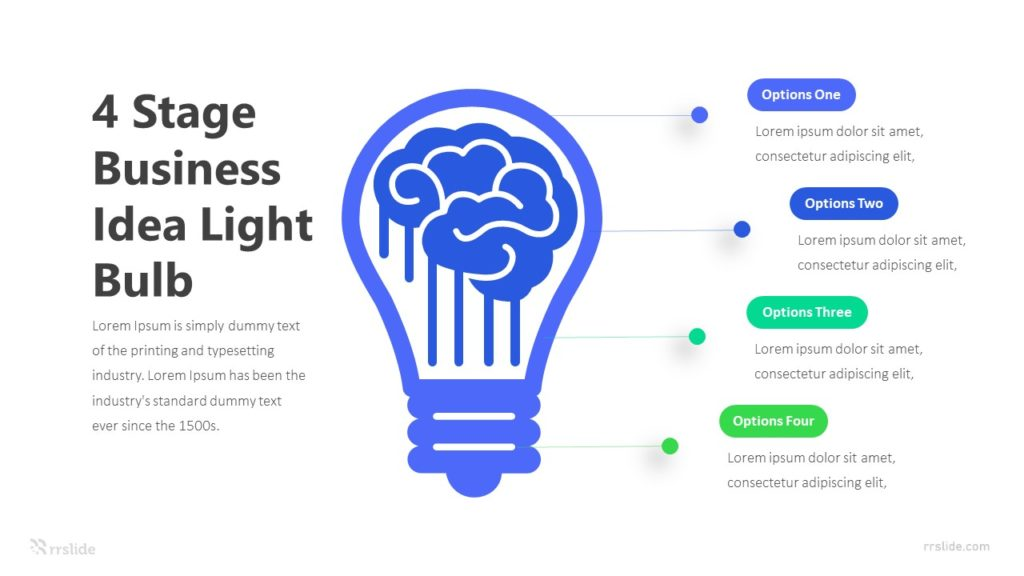 4 Stage Business Idea Light Bulb Infographic Template