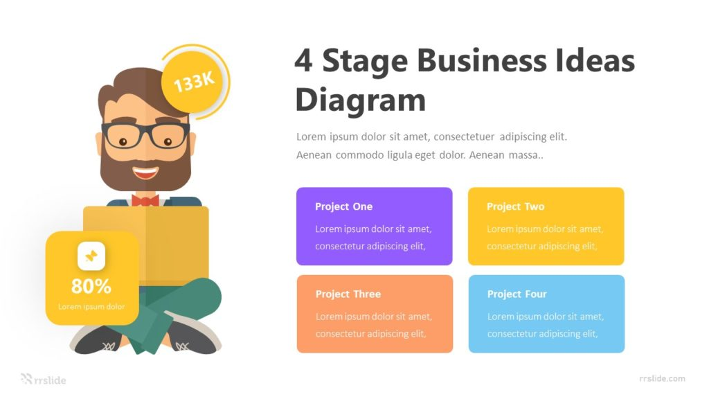 4 Stage Business Ideas Diagram Infographic Template