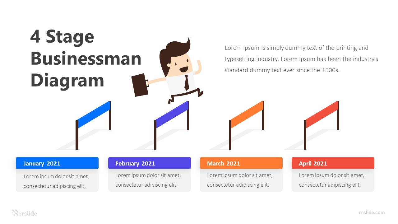 4 Stage Businessman Diagram Infographic Template