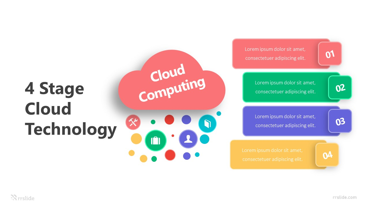 4 Stage Cloud Technology Infographic Template