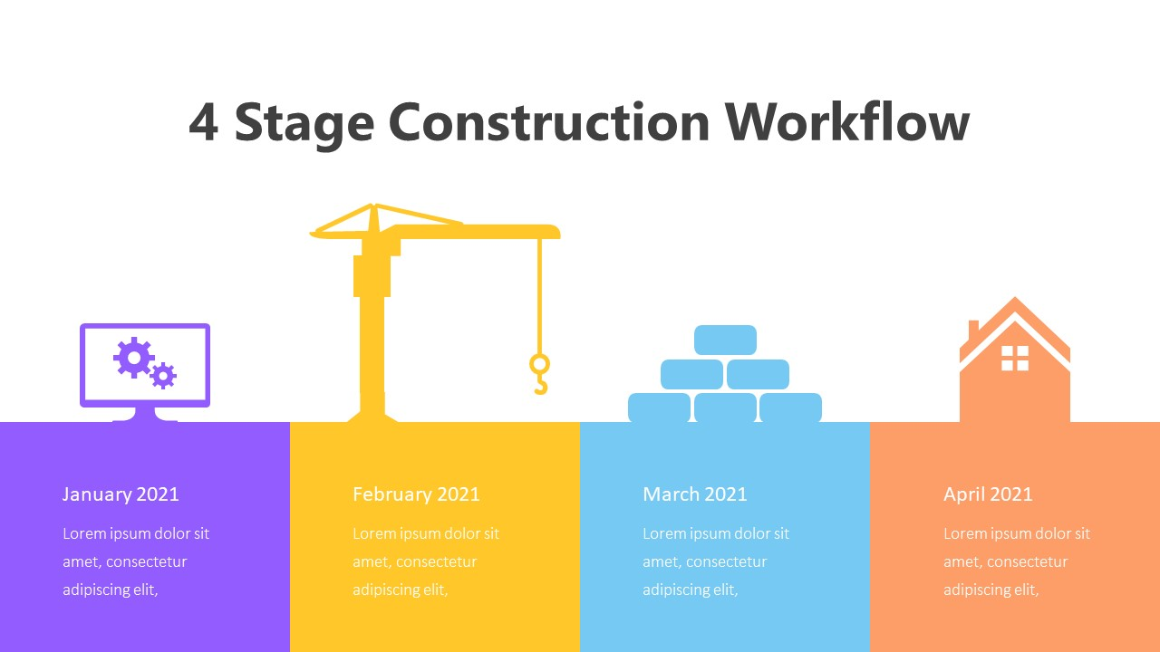 4 Stage Construction Workflow Infographic Template