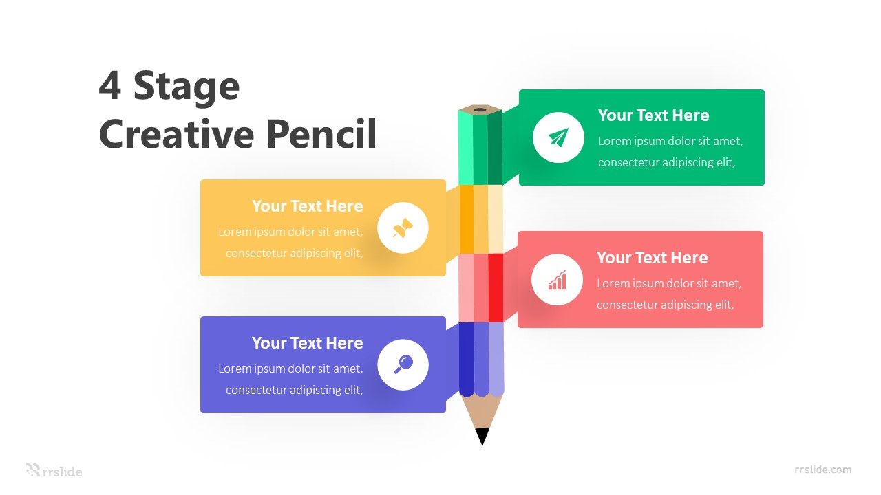 4 Stage Creative Pencil Infographic Template