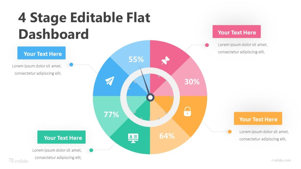 4 Stage Editable Flat Dashboard Infographic Template