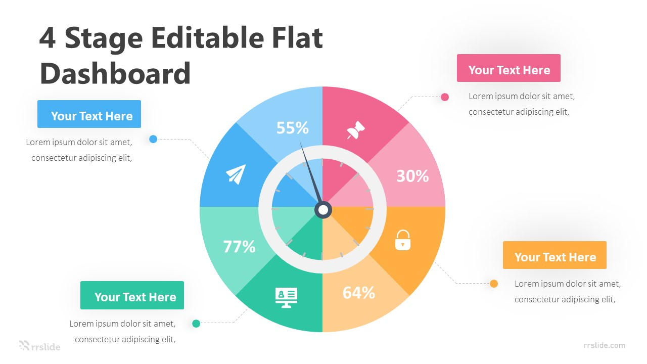 4 Stage Editable Flat Dashboard Infograpic Template