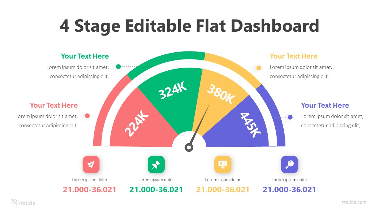 4 Step Editable Flat Dashboard Infographic Template
