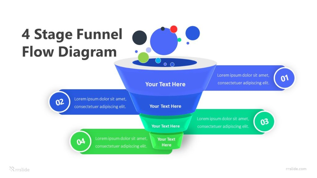 4 Stage Funnel Flow Diagram Infographic Template