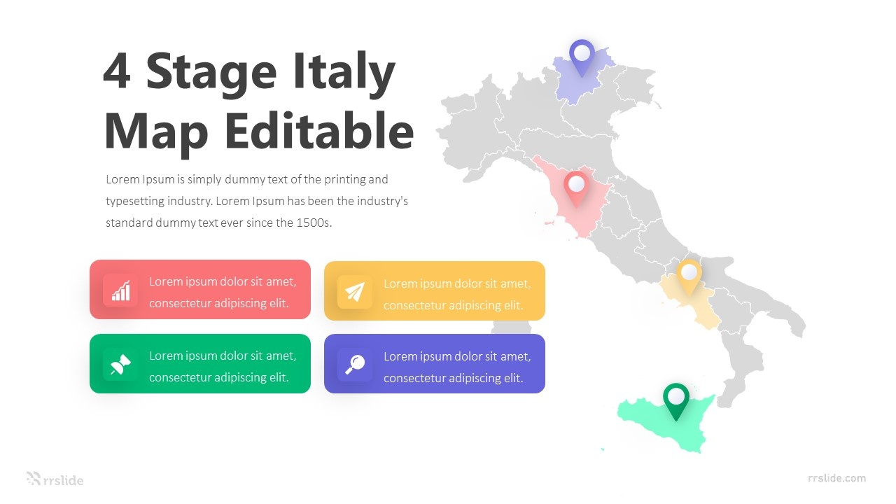 4 Stage Italy Map Editable Infographic Template