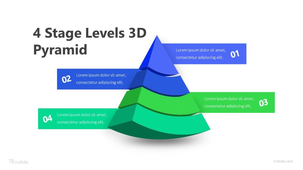 4 Stage Levels 3D Pyramid Infographic Template