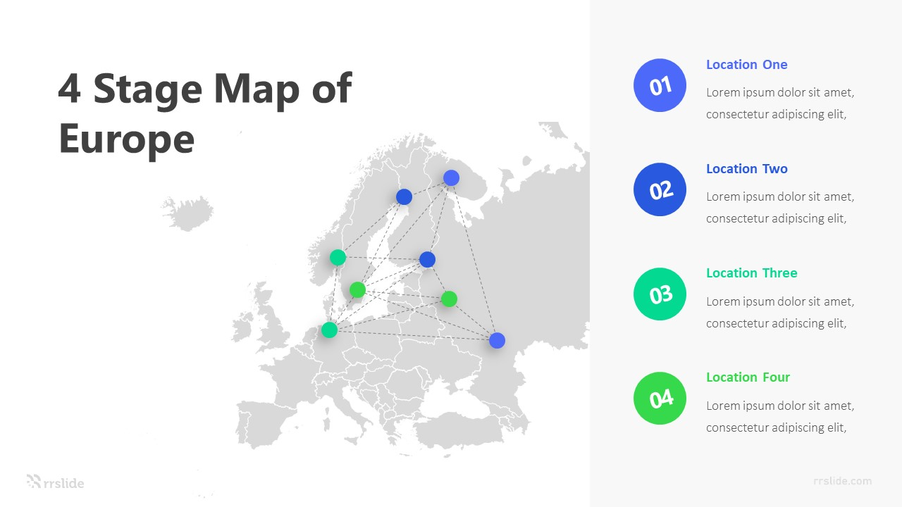 4 Stage Map of Europe Infographic Template