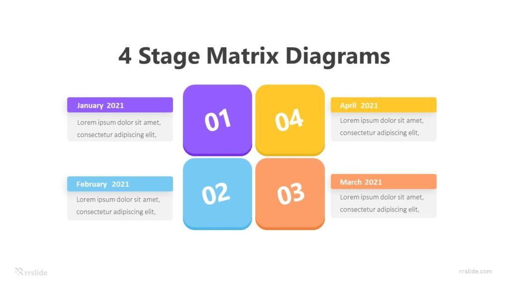 4 Stage Matrix Diagrams Infographic Template