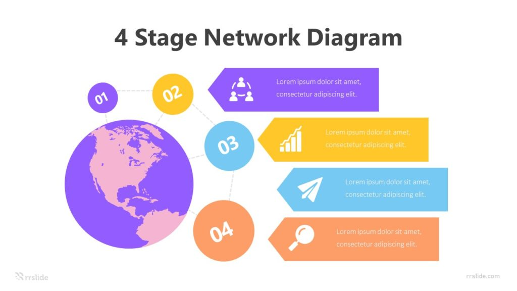 4 Stage Network Diagram Infographic Template