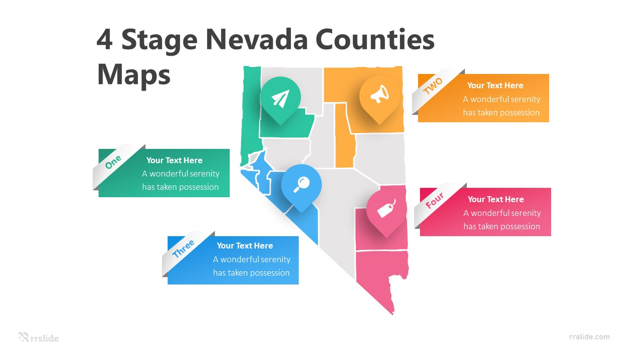 4 Stage Nevada Counties Maps Infographic Template