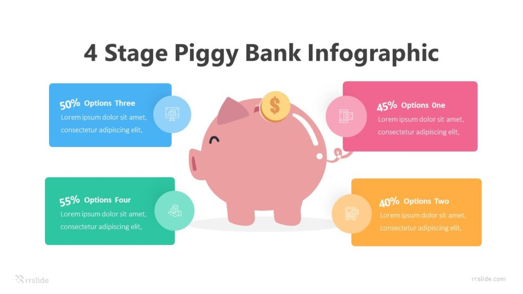 4 Stage Piggy Bank Infographic Template