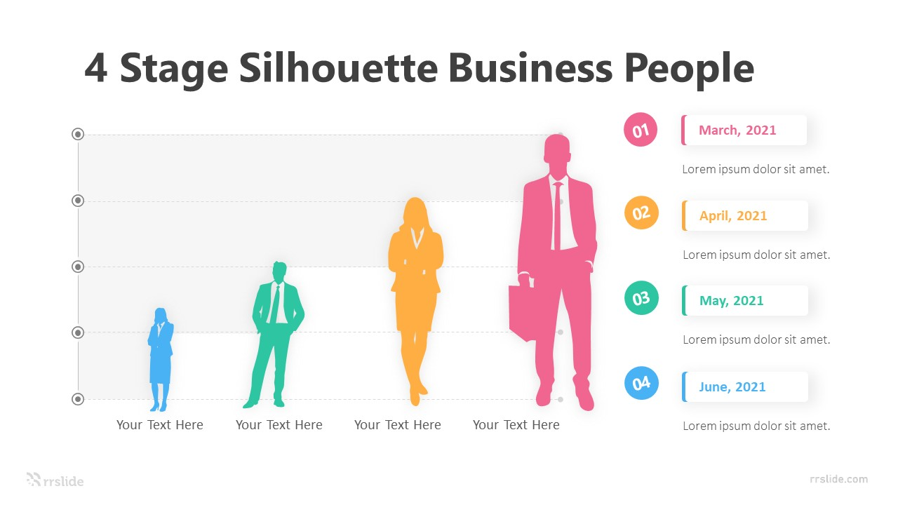 4 Stage Silhouette Business People Infographic Template