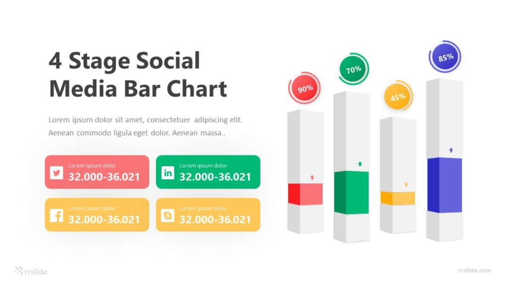 4 Stage Social Media Bar Chart Infographic Template