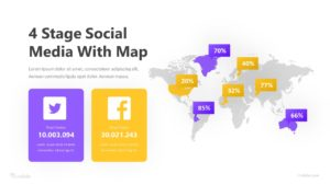 4 Stage Social Media with Map Infographic Template