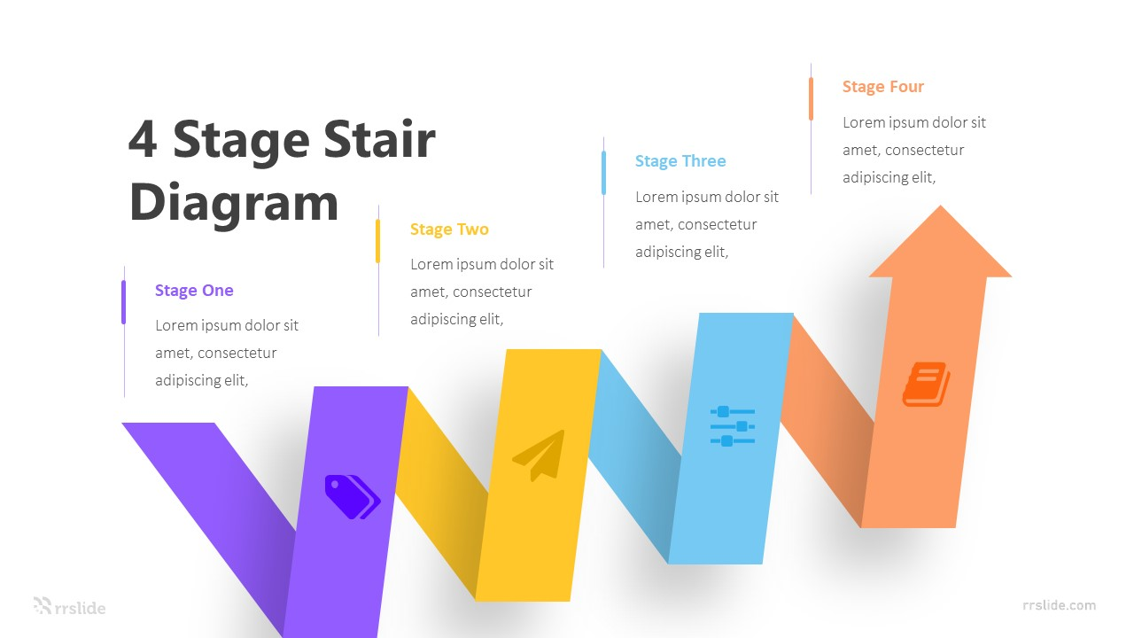 4 Stage Stair Diagram Infographic Template