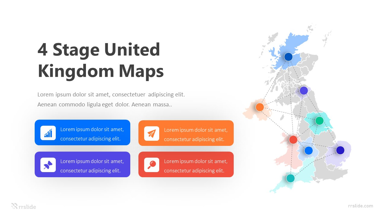 4 Stage United Kingdom Maps Infographic Template