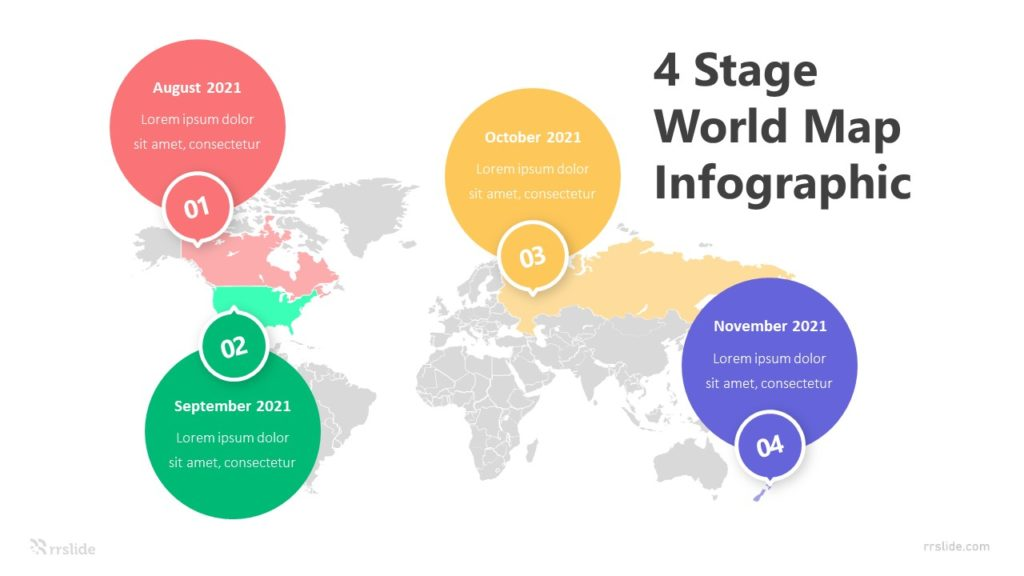 4 Stage World Map Infographic Template