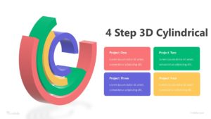 4 Step 3D Cylindrical Infographic Template