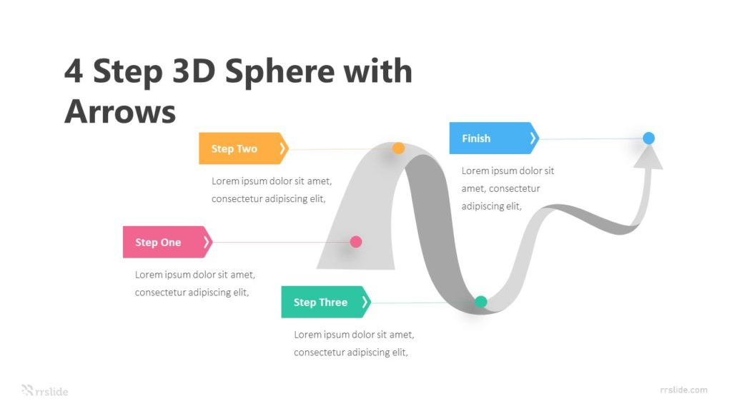 4 Step 3D Sphere With Arrows Infographic Template