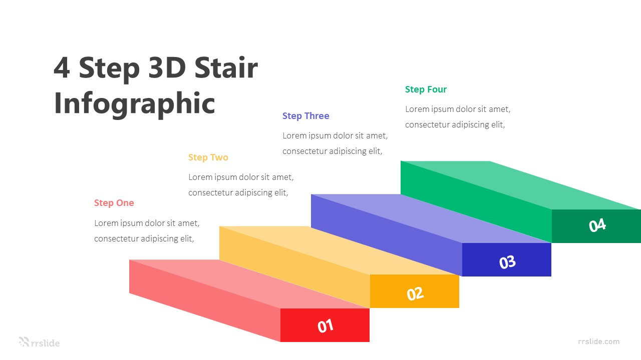 4 Step 3D Stair Infographic Template