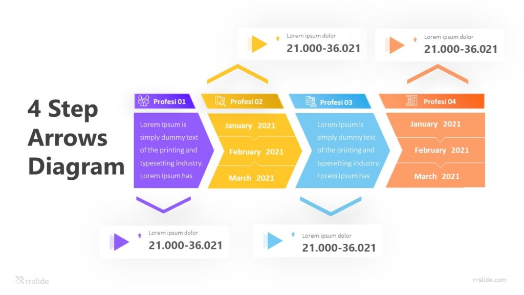4 Step Arrows Diagram Infographic Template