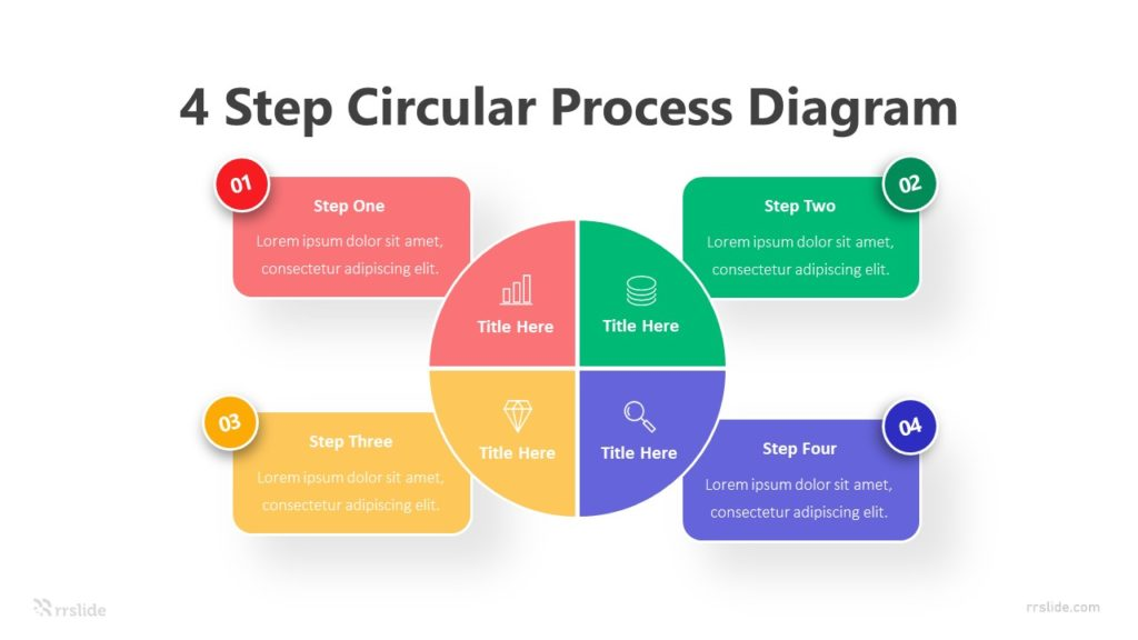 4 Step Circular Process Diagram Infographic Template