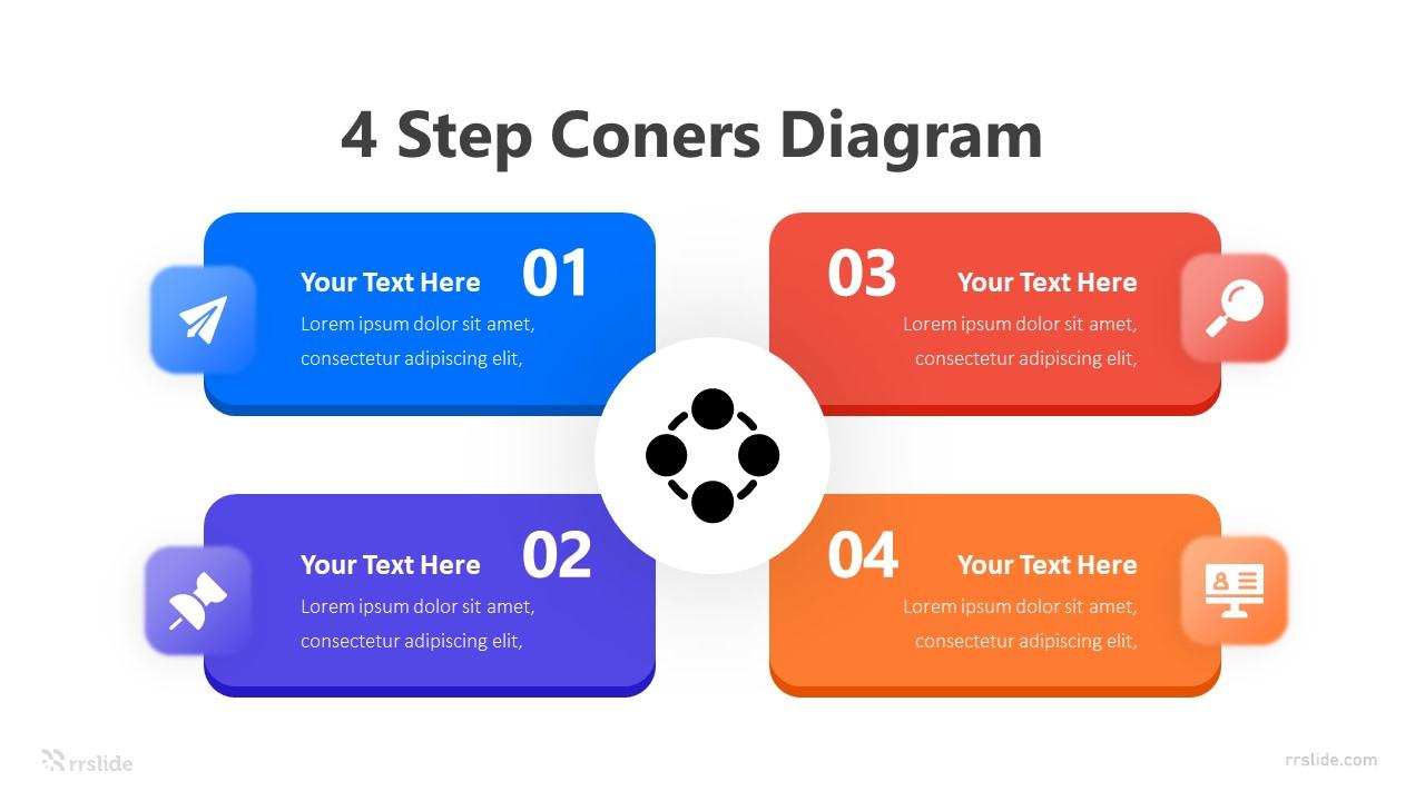 4 Step Coners Diagram Infografic Template