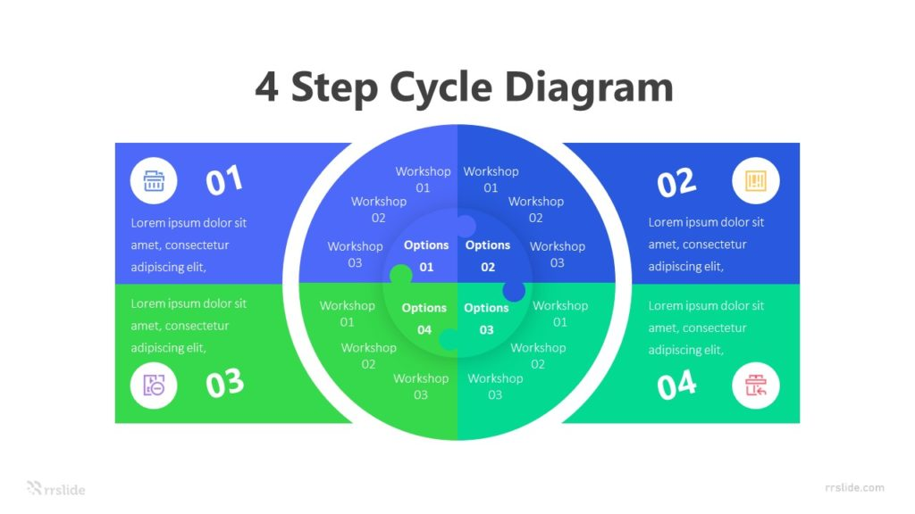 4 Step Cycle Diagram Infographic Template