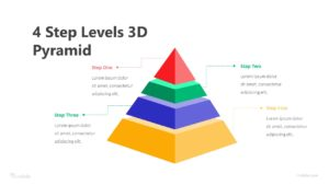 4 Step Levels 3D Pyramid Infographic Template